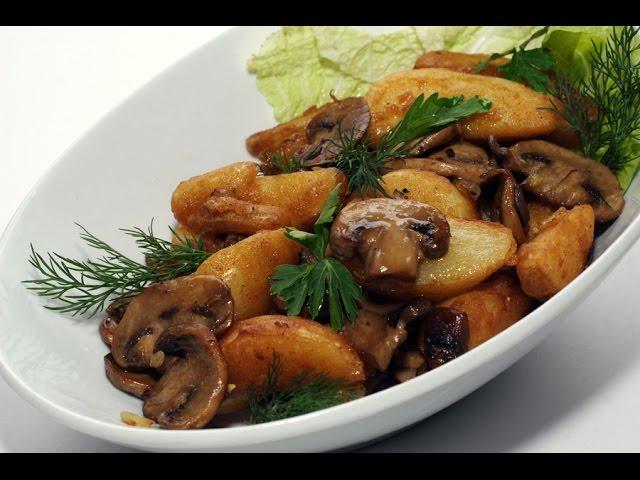 Мясо по-французски из свинины в духовке с картошкой и грибами | Видео рецепт