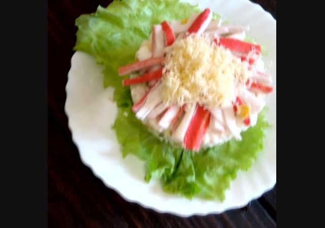 Крабовый салат с кукурузой и рисом. Вкусно и просто