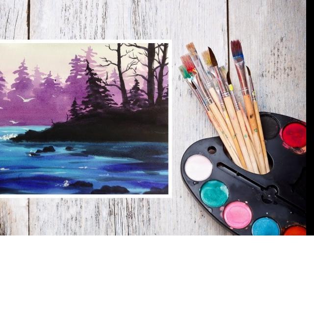Рисуем Акварелью Лесной пейзаж