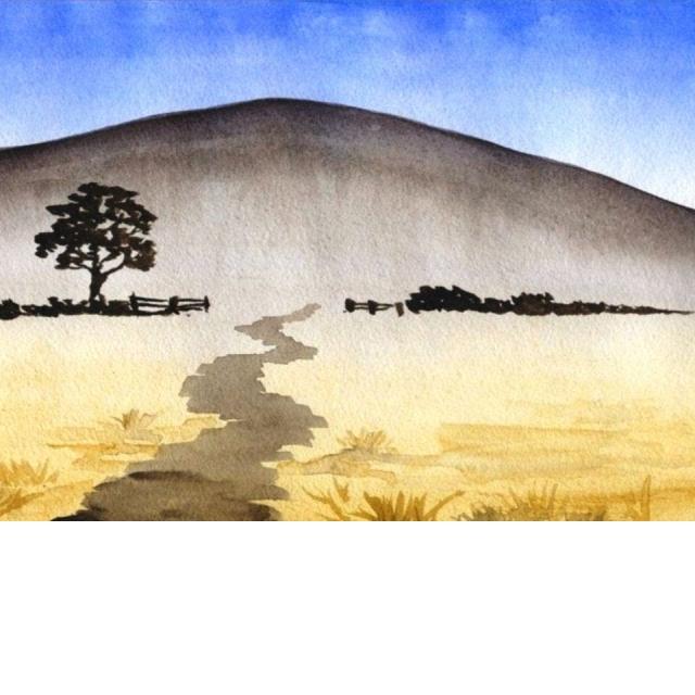 Как нарисовать Пейзаж акварелью Растяжка тона