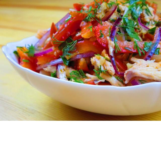 Салат с мясом и фасолью по мотивам Тбилиси Вкусное меню #47