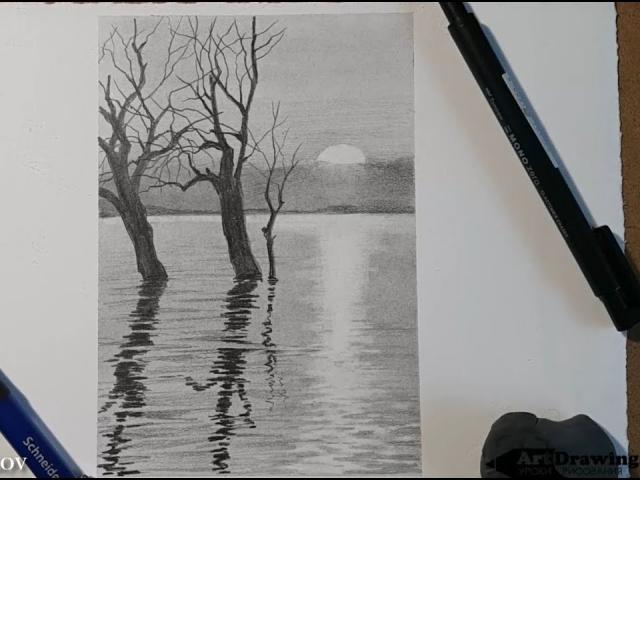 Рисуем пейзаж карандашом