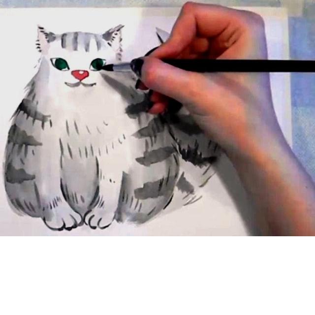Как нарисовать пушистого Кота-АКВАРЕЛЬ