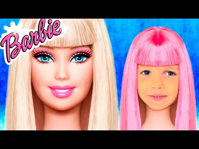 Barbie Doll Катя и косметика / Pretend play Cleaning with puppy and  build playhouse for kids