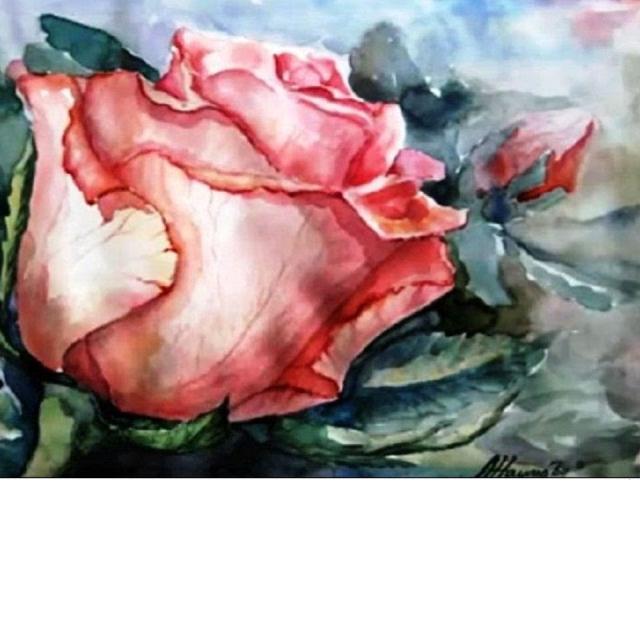 """Как рисовать цветы акварелью """"Прекрасный цветок РОЗА"""""""