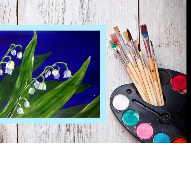 Рисуем цветы Ландыши Гуашью
