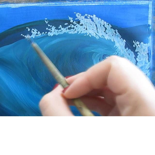 Рисуем волну гуашью