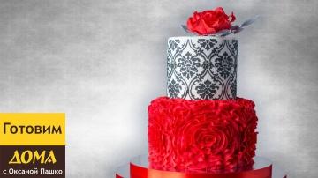 Изумительно красивый торт с розой Сборка и украшение торта мастикой
