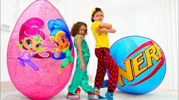 Гигантское яйцо с игрушками для мальчиков и Шиммер и Шайн куклы для Кати