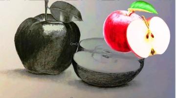 Как нарисовать Яблоко карандашом / Учимся рисовать яблоки простым карандашом