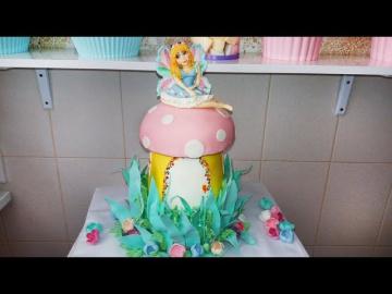 """Легкий 3Д торт """"Сказочный гриб"""" Кремово-мастичный / Easy 3D Cake"""