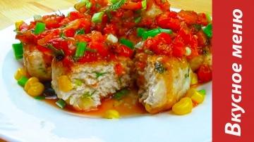 Котлетки из индейки кукурузой+вкусный соус Вкусное меню #44