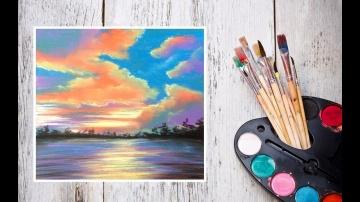 Урок Как нарисовать закат пастелью Картина за 10 минут Dari_Art