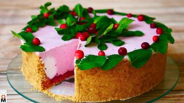 Торт без выпечки с творожным кремом и клюквой | Рецепт Ольги Матвей