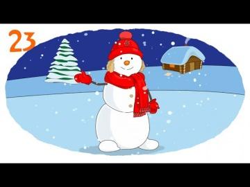 Мультик - Раскраска. Учим цвета - Новогодняя раскраска. Домик, Елка, Снеговик, Снегурочка, Дед Мороз