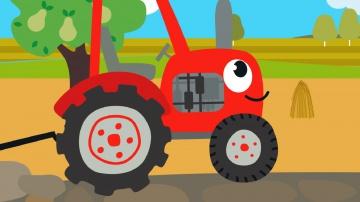 Друзья Животные - Веселая обучающая песенка для детей, малышей - Трактор едет в гости к друзьям