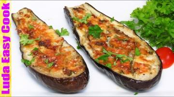 Баклажаны запеченные в духовке с сыром на скорую руку Рецепт Люда Изи Кук