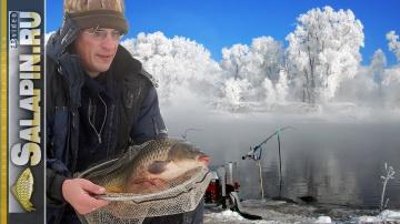 Ловля на фидер карася и сазана в экстремальный мороз (рыболовная байка) [salapinru]