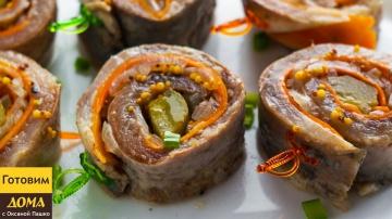 Оксана Пашко -  Рольмопс - идеальная закуска 2 в 1 на праздничный стол. Маринованные рулетики из сел