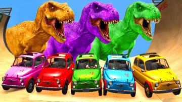 Цветные Машины для Детей Развивающий мультик с динозаврами и животными обучающие видео