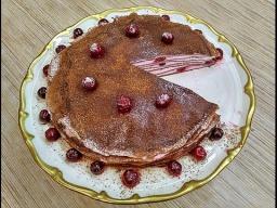 Алена Митрофанова -  Шоколадный блинный торт с творожным кремом и вишней