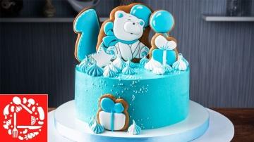 Торт без мастики мальчику на 1 год|Тортик с пряничными топперами для ребенка