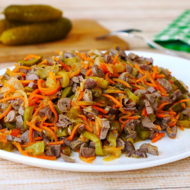 Салат-Закуска на Новый Год с Морковью По-Корейски и Куриных Сердечек