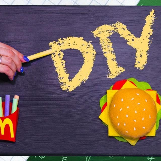 Афинка Diy Меловая доска / Организация рабочего места СВОИМИ РУКАМИ / Бургер и картошка фри