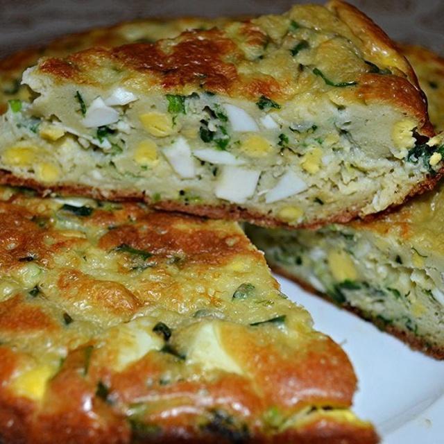 Рецепт - Пирог яичный с зеленым луком