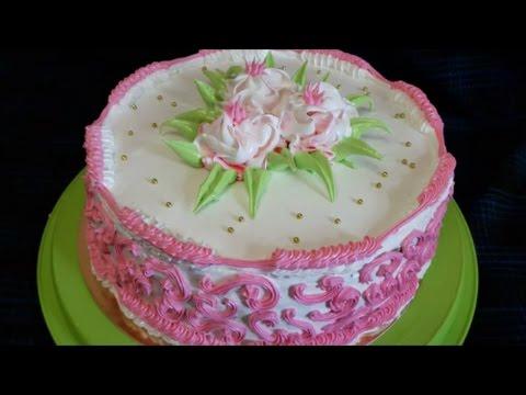 Торт с ПЕРСИКАМИ Рецепт торта Украшение тортов белково заварным кремом Cake decorating