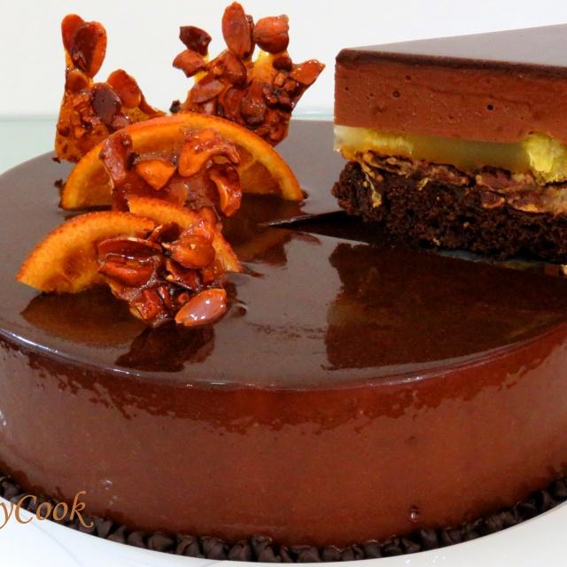 МУССОВЫЙ торт АПЕЛЬСИН и черный ШОКОЛАД с зеркальной глазурью | LudaEasyCook