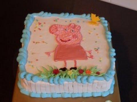 """Украшаем торт кремом.""""Свинка Пэппа """"/Peppa Wutz Torte"""