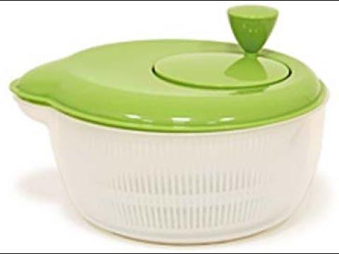 Как обсушить листья салата и зелень в сушилке-центрифуге /  Мировой повар