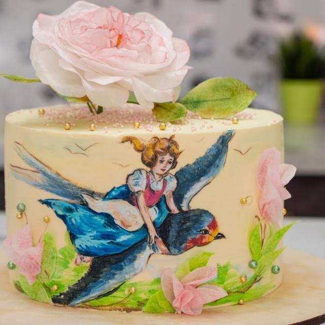 Торт «Дюймовочка» Рисуем на Ганаше Я ТОРТодел