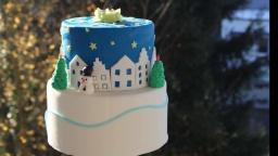 "Новогодний торт ""Снежная деревня""/ Winterdorf Torte/Weihnachten"