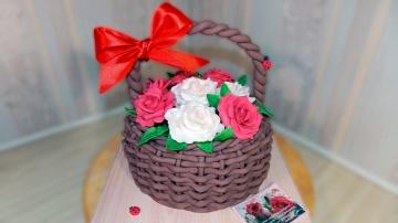 Я ТОРТодел 3д Торт КОРЗИНА С РОЗАМИ из мастики своими руками/3d Cake BASKET WITH ROSES - Я - ТОРТоде