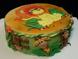 """Торт с фигурками из мастики """" Обезьянка для торта"""" . Украшения к Новому году."""