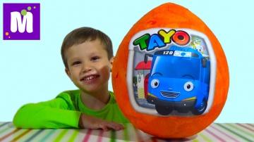 Тайо автобус большое яйцо сюрприз распаковка игрушки машинки
