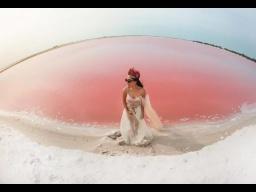Невероятные чудеса: Розовое озеро в Лас Колорадас Мексика