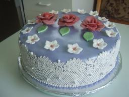 Торт покрытый мастикой, с цветочками. | Рецепт Маринкины Творинки