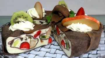 Торт Кожаный блинный мусс с фруктами | Позитивная кухня
