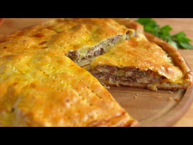 Рецепт мясного пирога с картошкой. Смотреть