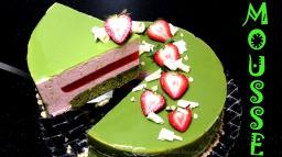 Вкусный Муссовый Торт с клубникой и японским зеленым чаем Матча