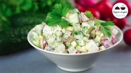 Салат из редиса и огурцов  Легкий и Вкусный Весенний салатик  Radish Salad