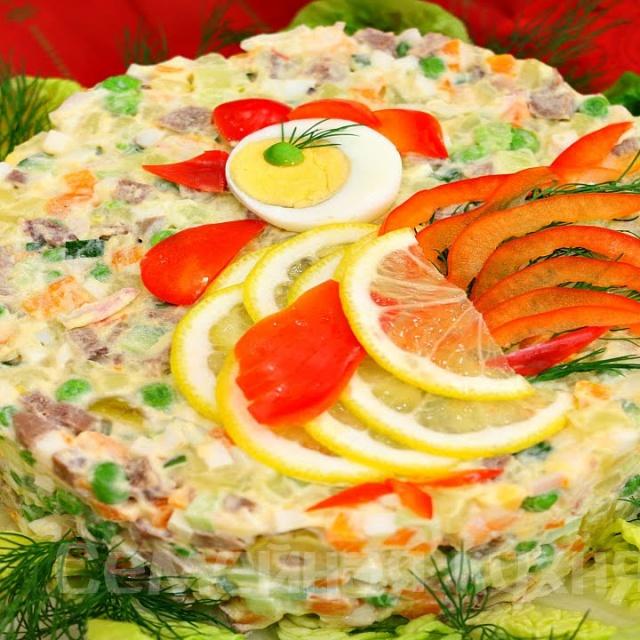 Оливье по-царски для праздника видео рецепт
