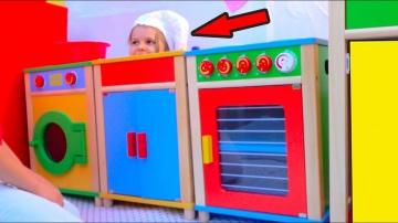 Катя и Макс DIY Детский ДоМик РЕСТОРАН с игровой кухней или Pretend Play in DIY Playhouse for childr