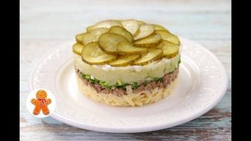 Слоеный Салат с Печенью Трески | Рецепт приготовления