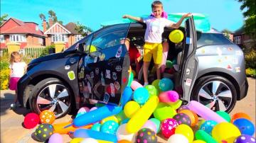 Мистер Макс-Разыграли маму ЗАСЫПАЛИ машину ШАРИКАМИ или BALLOONS PRANK IN MY MOM's CAR