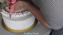 Светлана Кесслер Оформление торта белково-заварным кремом