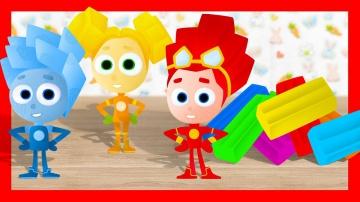 Мультики. Учим цвета Лепим из пластилина ФИКСИКИ Пластилин для детей
